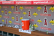 ANAHEIM, CA - MAY 14:  The dugout is ready for the Boston Red Sox game against the Los Angeles Angels of Anaheim at Angel Stadium in Anaheim, California on Thursday, May 14, 2009.  The Angels defeated the Red Sox 5-4 in 12 innings.  (Photo by Paul Spinelli/MLB Photos)