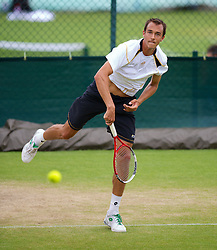 LONDON, ENGLAND - Friday, June 29, 2012: Lukas Rosol (CZE) during practice on day five of the Wimbledon Lawn Tennis Championships at the All England Lawn Tennis and Croquet Club. (Pic by David Rawcliffe/Propaganda)