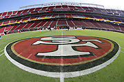 The team logo is painted on the field in this general view photograph of Levi's Stadium taken before the San Francisco 49ers 2017 NFL week 1 regular season football game against the Carolina Panthers, Sunday, Sept. 10, 2017 in Santa Clara, Calif. The Panthers won the game 23-3. (©Paul Anthony Spinelli)