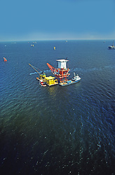Offshore Oil Platform, Color and B/W Images