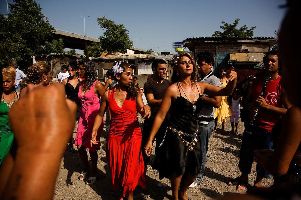 A celebration for the baptism of a child in the Nova Gazela camp.