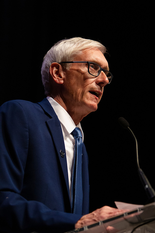 Tony Evers addresses the crowd during the Election Night watch party at the Orpheum Theater in Madison, Wisconsin, Wednesday, Nov. 7, 2018.
