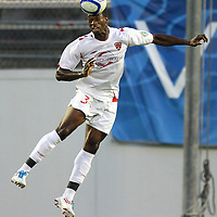 Orlando City Lions Defenseman Demar Stewart (3) heads the ball during a United Soccer League Pro soccer match between the Richmond Kickers and the Orlando City Lions at the Florida Citrus Bowl on May 25, 2011 in Orlando, Florida.  (AP Photo/Alex Menendez)