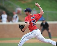 Mississippi's Brett Huber (38) pitches vs. St. John's during an NCAA Regional game at Davenport Field in Charlottesville, Va. on Sunday, June 6, 2010.
