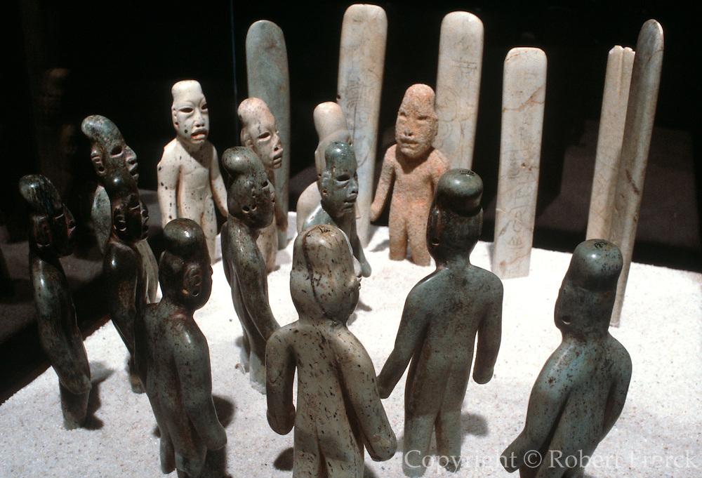 MEXICO, MEXICO CITY, MUSEUM OLMEC; La Venta, greenstone figures