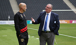 Peterborough United Manager Steve Evans chats with Milton Keynes Dons manager Paul Tisdale before the game - Mandatory by-line: Joe Dent/JMP - 04/09/2018 - FOOTBALL - Stadium MK - Milton Keynes, England - Milton Keynes Dons v Peterborough United - Checkatrade Trophy