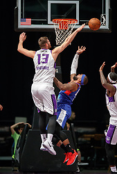 November 19, 2017 - Reno, Nevada, U.S - Reno Bighorns Center GEORGIOS PAPAGIANNIS (13) blocks a shot from Long Island Nets Forward JJ MOORE (44) during the NBA G-League Basketball game between the Reno Bighorns and the Long Island Nets at the Reno Events Center in Reno, Nevada. (Credit Image: © Jeff Mulvihill via ZUMA Wire)