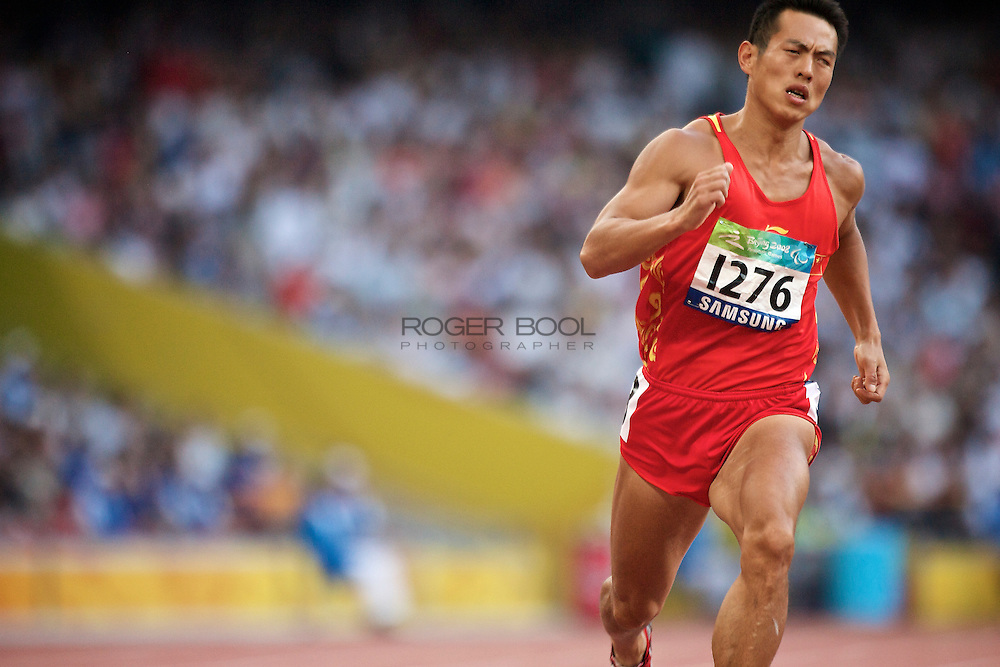 Qiang Li of China in The Birds Nest National Staduim competing in the men's 400 metre T12 round 1 at the Paralympic games, Beijing, China. 11th September 2008