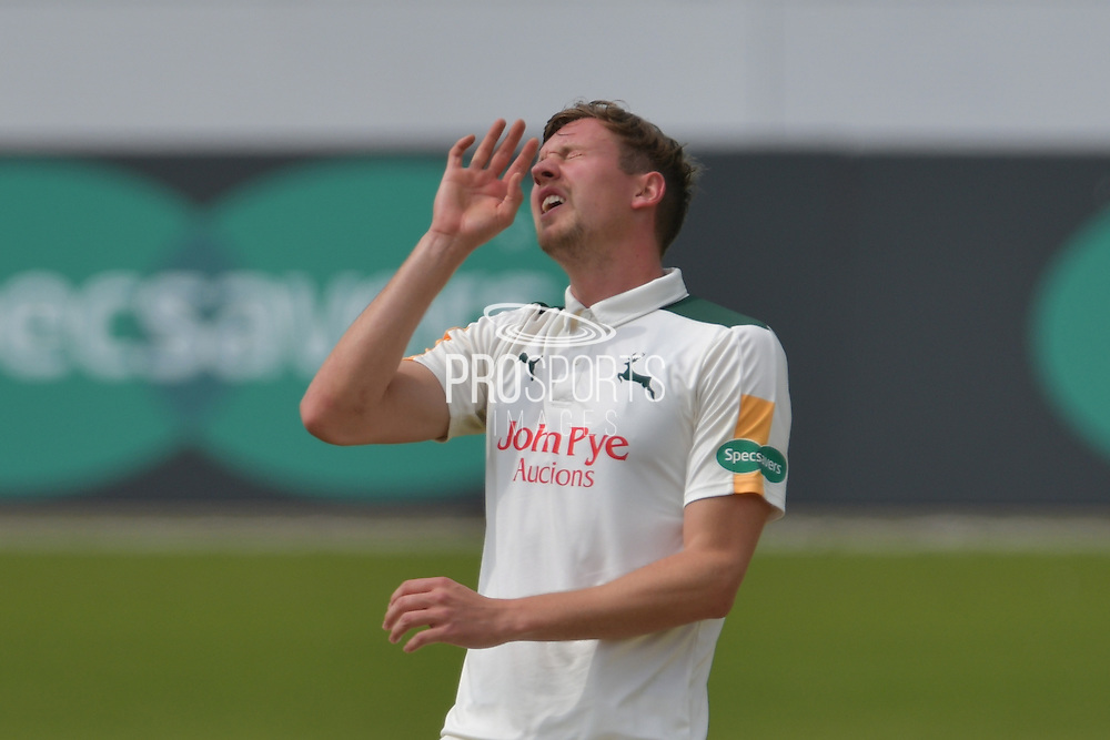Jake Ball reacted to a false shot during the Specsavers County Champ Div 1 match between Nottinghamshire County Cricket Club and Durham County Cricket Club at Trent Bridge, West Bridgford, United Kingdom on 29 May 2016. Photo by Simon Trafford.
