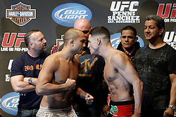 Dec 12, 2009; Memphis, TN, USA; UFC Lightweight Champion BJ Penn and challenger Diego Sanchez pose after weighing in for their upcoming bout at UFC 107.  The two will meet at the FedEx Forum in Memphis, TN.