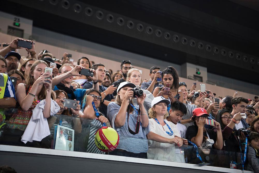 Fans after the men's final on day fourteen of the 2017 Australian Open at Melbourne Park on January 29, 2017 in Melbourne, Australia.<br /> (Ben Solomon/Tennis Australia)