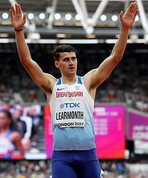 Great Britain's Guy Learmonth celebrates qualifying after the 800m Men's heat six during day two of the 2017 IAAF World Championships at the London Stadium.