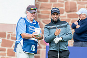 Lee Slattery (ENG) discusses tactics with his caddie Max Cunningham during the second round of the Aberdeen Standard Investments Scottish Open at The Renaissance Club, North Berwick, Scotland on 12 July 2019.