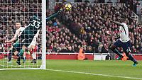 Football - 2017 / 2018 Premier League - Arsenal vs. Tottenham Hotspur<br /> <br /> Petr Cech (Arsenal FC) pushes away a Tottenham attempt as Davinson Sanchez (Tottenham FC)  runs in at The Emirates.<br /> <br /> COLORSPORT/DANIEL BEARHAM