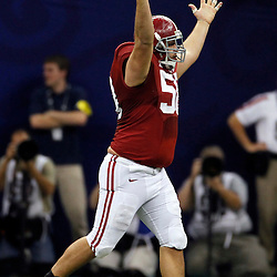 Jan 9, 2012; New Orleans, LA, USA; Alabama Crimson Tide defensive lineman Nick Gentry (58) reacts after a sack during the second half of the 2012 BCS National Championship game against the LSU Tigers at the Mercedes-Benz Superdome.  Mandatory Credit: Derick E. Hingle-US PRESSWIRE