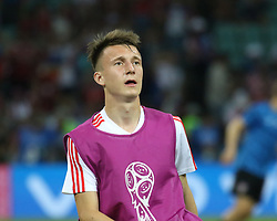 July 7, 2018 - Sochi, Russia - July 07, 2018, Sochi, FIFA World Cup 2018, the playoff round. 1/4 finals of the World Cup. Football match Russia - Croatia at the stadium Fisht. Player of the national team Alexander Golovin. (Credit Image: © Russian Look via ZUMA Wire)