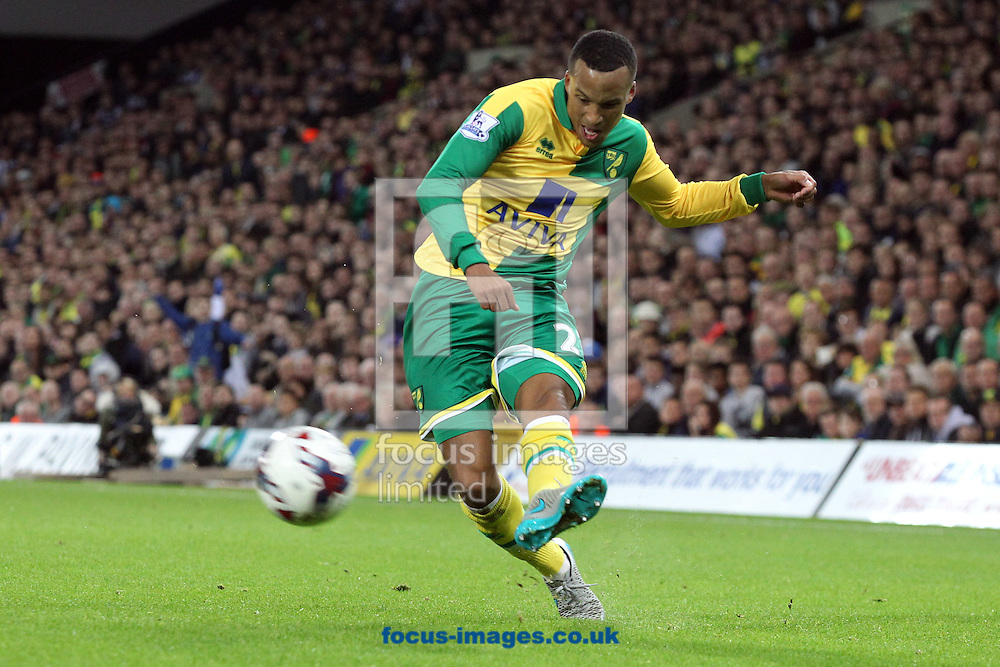 Martin Olsson of Norwich in action during the Capital One Cup match at Carrow Road, Norwich<br /> Picture by Paul Chesterton/Focus Images Ltd +44 7904 640267<br /> 23/09/2015