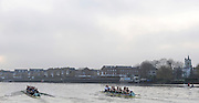 Putney, GREAT BRITAIN,  left, crew Personality and crew Looks, passing Chiswick Eyot, during the 2008 Varsity/Cambridge University Trial Eights, raced over the championship course. Putney to Mortlake, Tue. 16.12.2008. [Mandatory Credit, Peter Spurrier/Intersport-images..Crew Personality. Bow Dan SHAUGHNESSY, 2. Shane O'MARA, 3. John CLAY, 4. Ryan MONAGHAN, 5. Fred GILL, 6. Deaglan McEACHERN, 7. Hardy CUTBASCH, stroke,. Rob WEITEMAYER and cox Rebecca DOWBIGGIN...Crew Looks;.Bow James STRAWSON. 2. Joel JENNINGS, 3. Code STERNAL, 4 Peter MARSLAND, 5. George NASH, 6. Henry PELLY, 7. Tom RANSLEY, stroke Silas STAFFORD and Cox Helen HODGES.. Varsity Boat Race, Rowing Course: River Thames, Championship course, Putney to Mortlake 4.25 Miles,