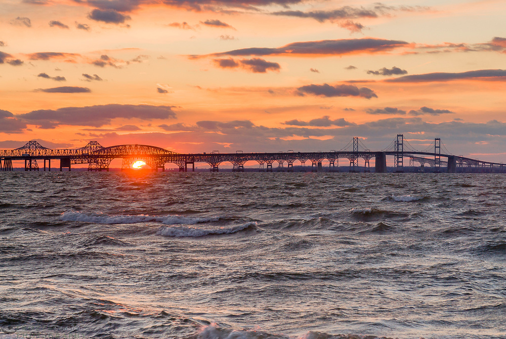 The Chesapeake Bay Bridge as seen from Maryland's Eastern Shore.