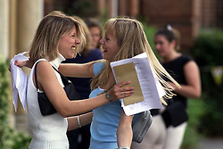 A - Level results at Chelmsford County High School for Girls. Lorraine Molyneux 18, 3A's and 1B and a place at dental school, Julie Martindall 18, 4A's and 1C and a place a Oxford, August 17, 2000. Photo by Andrew Parsons/i-Images..