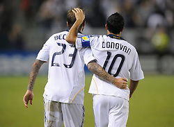 Los Angeles Galaxy's David Beckham and Landon Donovan during game against San Jose at the Home Depot Center. Los Angeles Galaxy beat San Jose 2-0 Saturday, October 24. 2009, in Carson, California.