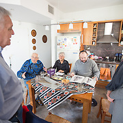 Jonny Daniels of From The Depths meets with Samuel Willenberg and his family on January 6, 2015 in Tel Aviv, Israel. (Photo by Elan Kawesch)