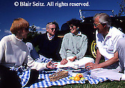 Active Aging Senior Citizens, Retired, Activities, Elderly Couple Picnics in Park Retired Couples, Outdoors