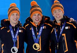 09-02-2014 ALGEMEEN: OLYMPIC GAMES MEDAILLE CEREMONIE: SOTSJI<br /> Jan Blokhuijsen zilver, Sven Kramer goud en Jorrit Bergsma brons<br /> ©2014-FotoHoogendoorn.nl<br />  / Sportida