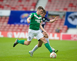 WREXHAM, WALES - Saturday, May 3, 2014: Aberystwyth Town's Mark Jones in action against The New Saints' Christian Seargeant during the Welsh Cup Final at the Racecourse Ground. (Pic by David Rawcliffe/Propaganda)