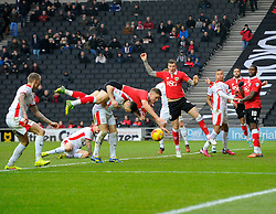 Bristol City's Matt Smith goes down in the area  - Photo mandatory by-line: Joe Meredith/JMP - Mobile: 07966 386802 - 07/02/2015 - SPORT - Football - Milton Keynes - Stadium MK - MK Dons v Bristol City - Sky Bet League One