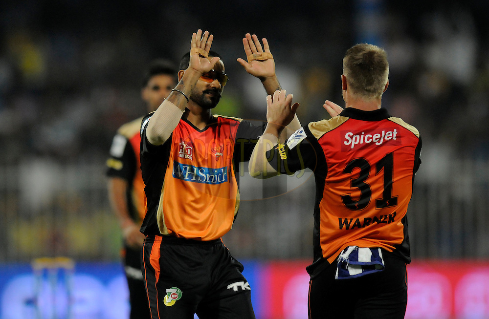 Shikhar Dhawan captain of the Sunrisers Hyderabad celebrates the wicket of Dwayne Smith of The Chennai Superkings during match 16 of the Pepsi Indian Premier League 2014 between the Delhi Daredevils and the Mumbai Indians held at the Sharjah Cricket Stadium, Sharjah, United Arab Emirates on the 27th April 2014<br /> <br /> Photo by Pal Pillai / IPL / SPORTZPICS