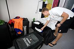 Matjaz Vezjak preparing jerseys and towels for Erazem Lorbek (15) of Slovenia in a Andel's Hotel during Eurobasket 2009, on September 15, 2009 in  Lodz, Poland.  (Photo by Vid Ponikvar / Sportida)
