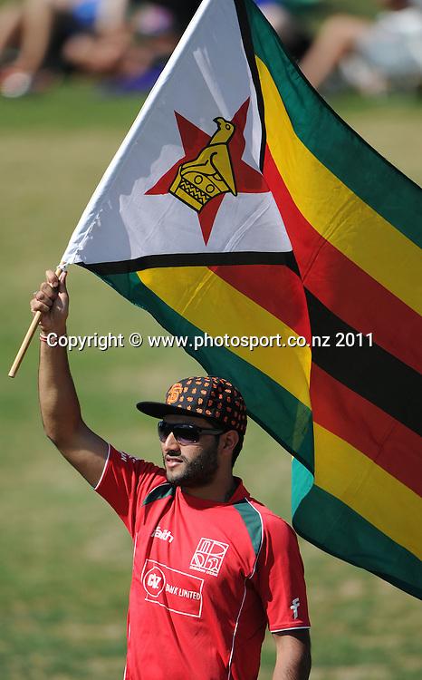 Zimbabwe cricket fans on day 1 of the first cricket test, New Zealand v Zimbabwe at McLean Park. Thursday 26 January 2012. Napier, New Zealand. Photo: Andrew Cornaga/Photosport.co.nz