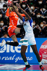 03-12-2019 JAP: Netherlands - Cuba, Kumamoto<br /> Third match 24th IHF Women's Handball World Championship, Netherlands win the third match against Cuba with 51- 23. / Estavana Polman #79 of Netherlands, Yennifer Amanda Toledo Abreu #34 of Cuba