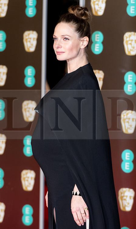 © Licensed to London News Pictures. 18/02/2018. REBECCA FERGERSON arrives on the red carpet for the EE British Academy Film Awards 2018, held at the Royal Albert Hall, London, UK. Photo credit: Ray Tang/LNP