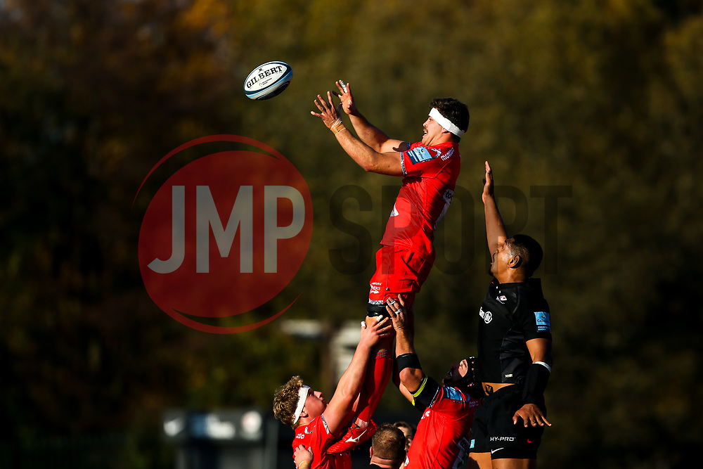 Jono Ross of Sale Sharks wins the ball at a line out - Mandatory by-line: Robbie Stephenson/JMP - 17/11/2018 - RUGBY - Allianz Park - London, England - Saracens v Sale Sharks - Gallagher Premiership Rugby
