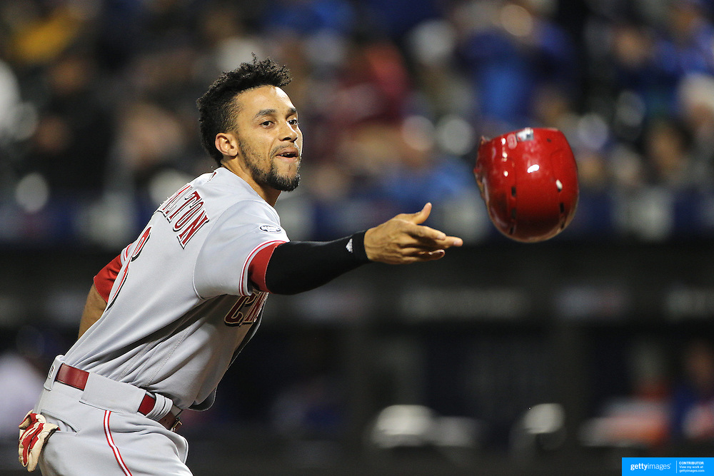 NEW YORK, NEW YORK - APRIL 26:  Billy Hamilton #6 of the Cincinnati Reds tosses his helmet after striking out during the New York Mets Vs Cincinnati Reds MLB regular season game at Citi Field on April 26, 2016 in New York City. (Photo by Tim Clayton/Corbis via Getty Images)