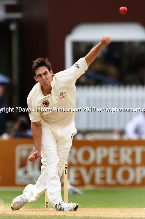Australia's Mitchell Johnson bowls.<br /> 1st cricket test match - New Zealand Black Caps v Australia, day three at the Basin Reserve, Wellington.Sunday, 21 March 2010. Photo: Dave Lintott/PHOTOSPORT