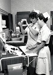 Nurses, Queen's Medical Centre hospital, Nottingham July 1990 UK
