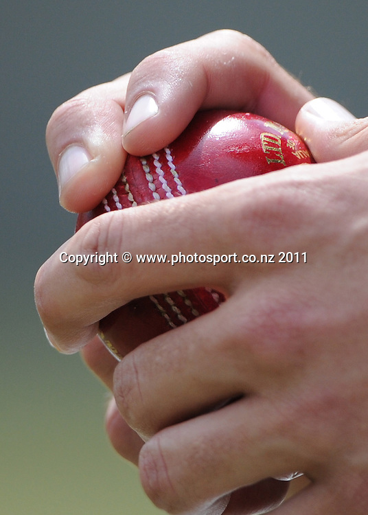 Tim Southee's grip on a cricket ball ahead of the second cricket test match versus Australia in Hobart. Wednesday 7 December 2011. Photo: Andrew Cornaga/Photosport.co.nz