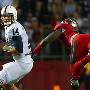 September 13, 2014:  Penn State Nittany Lions quarterback Christian Hackenberg (14) has his eyes on a airborne Rutgers Scarlet Knights defensive back Delon Stephenson (27) during the game between Penn State Nittany Lions and Rutgers Scarlet Knights at Highpoint Solutions Stadium in Piscataway, NJ. The Penn State Nittany Lions defeated The Rutgers Scarlet Knights 13-10.  Mandatory Credit: Kostas Lymperopoulos/CSM, (Credit Image: © Kostas Lymperopoulos/Cal Sport Media)