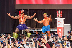 February 28, 2019 - U.S. - LAS VEGAS, NV - MARCH 01: Samoa warriors excite their fans at the all nations parade the evening before the USA Rugby Sevens held March 1-3, 2019 at Sam Boyd Stadium in Las Vegas, NV. (Photo by Allan Hamilton/Icon Sportswire) (Credit Image: © Allan Hamilton/Icon SMI via ZUMA Press)