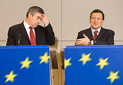 Gordon Brown, U.K.'s prime minister, left, speaks during a press conference with Jose Manuel Barroso, European Commission president at the European Commission headquarters in Brussels, Belgium, on Thursday, Feb. 21, 2008. Gordon Brown is on his first official visit to the European Union since becoming prime minister. (Photo © Jock Fistick).