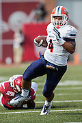 FAYETTEVILLE, AR - SEPTEMBER 5:  Jeremiah Laufasa #4 of the UTEP Miners runs the ball against the Arkansas Razorbacks at Razorback Stadium on September 5, 2015 in Fayetteville, Arkansas.  The Razorbacks defeated the Miners 48-13.  (Photo by Wesley Hitt/Getty Images) *** Local Caption *** Jeremiah Laufasa