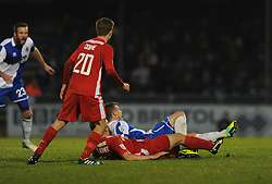 Welling United's Jake Gallagher fouls Bristol Rovers' Lee Mansell and is later sent off - Photo mandatory by-line: Dougie Allward/JMP - Mobile: 07966 386802 - 29/11/2014 - SPORT - Football - Bristol - Memorial Stadium - Bristol Rovers v Welling - Vanarama Conference