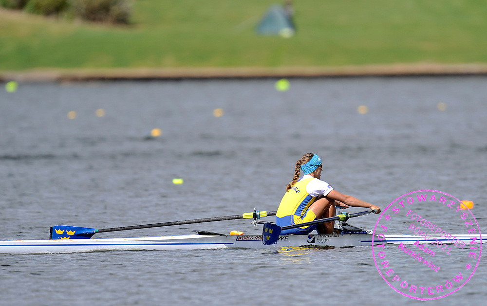 FRIDA SVENSSON (SWEDEN) COMPETES IN WOMEN'S SINGLE SCULLS FINAL A DURING REGATTA WORLD ROWING CHAMPIONSHIPS ON KARAPIRO LAKE IN NEW ZEALAND...NEW ZEALAND , KARAPIRO , NOVEMBER 06, 2010..( PHOTO BY ADAM NURKIEWICZ / MEDIASPORT )..PICTURE ALSO AVAIBLE IN RAW OR TIFF FORMAT ON SPECIAL REQUEST.