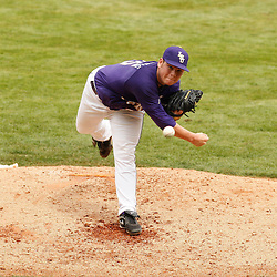 Apr 04, 2010; Baton Rouge, LA, USA; LSU Tiger pitcher Joey Bourgeois (25) throws the ball in a game against the Georgia Bulldogs at Alex Box Stadium. Mandatory Credit: Derick E. Hingle-US PRESSWIRE