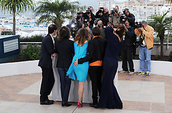LTOR French actor Melvil Poupaud, French actress Nathalie Baye, Canadian actress Suzanne Clement, Canadian director Xavier Dolan and Canadian actress Monia Chokri pose during the photocall of 'Laurence Anyways' presented in the 'Un Certain Regard' selection at the 65th Cannes film festival on May 19, 2012 in Cannes. Photo Ki Price/i-Images