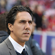 HARRISON, NEW JERSEY- November 06:  Head coach Mauro Biello of Montreal Impact on the sideline during the New York Red Bulls Vs Montreal Impact MLS playoff match at Red Bull Arena, Harrison, New Jersey on November 06, 2016 in Harrison, New Jersey. (Photo by Tim Clayton/Corbis via Getty Images)