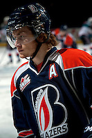 KELOWNA, CANADA -FEBRUARY 1: Chase Souto RW #12 of the Kamloops Blazers skates during warm up against the Kelowna Rockets on February 1, 2014 at Prospera Place in Kelowna, British Columbia, Canada.   (Photo by Marissa Baecker/Getty Images)  *** Local Caption *** Chase Souto;